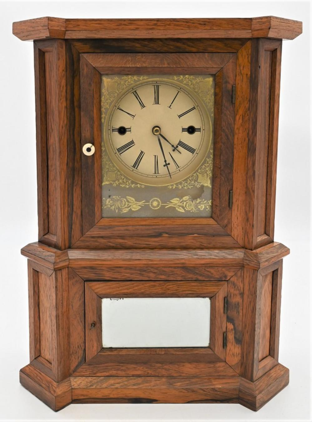 """Atkins Rosewood Wagon Spring Clockhaving 30 day """"Equalizing Lever Spring"""" movement and pendulum, replaced dialheight 17 1/2 inches..."""