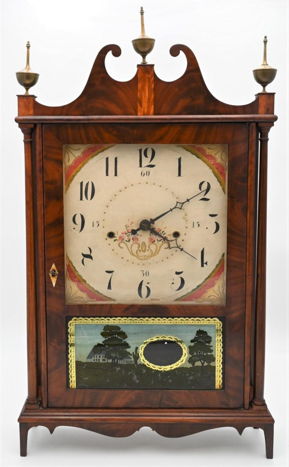 Seth Thomas Off Center Federal Pillar and Scroll Shelf Clockhaving wooden worksheight 30 inchesProvenance: Fifty Year Personal Co...