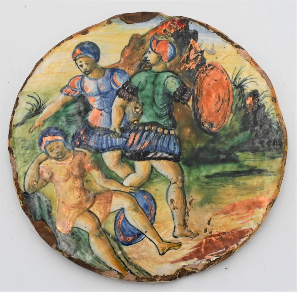 Italian Majolica Polychrome Decorated Pottery Plaquemid 16th centuryprobably Castel Durantecirculardepicting two figures in anti...