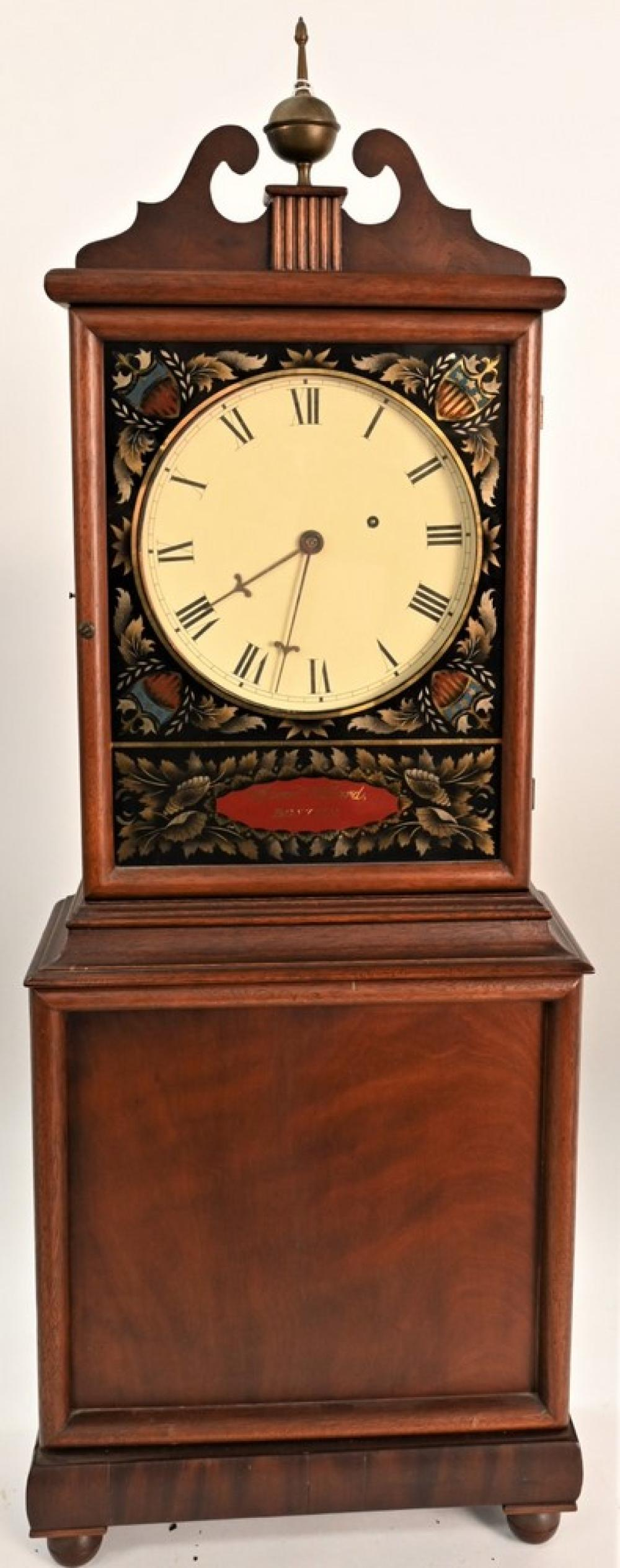 "Aaron Willard Mahogany Shelf Clockhaving eglomised dial maskfeatures a reserve signed ""Aaron Willard Boston"" on ball feetcase rew..."
