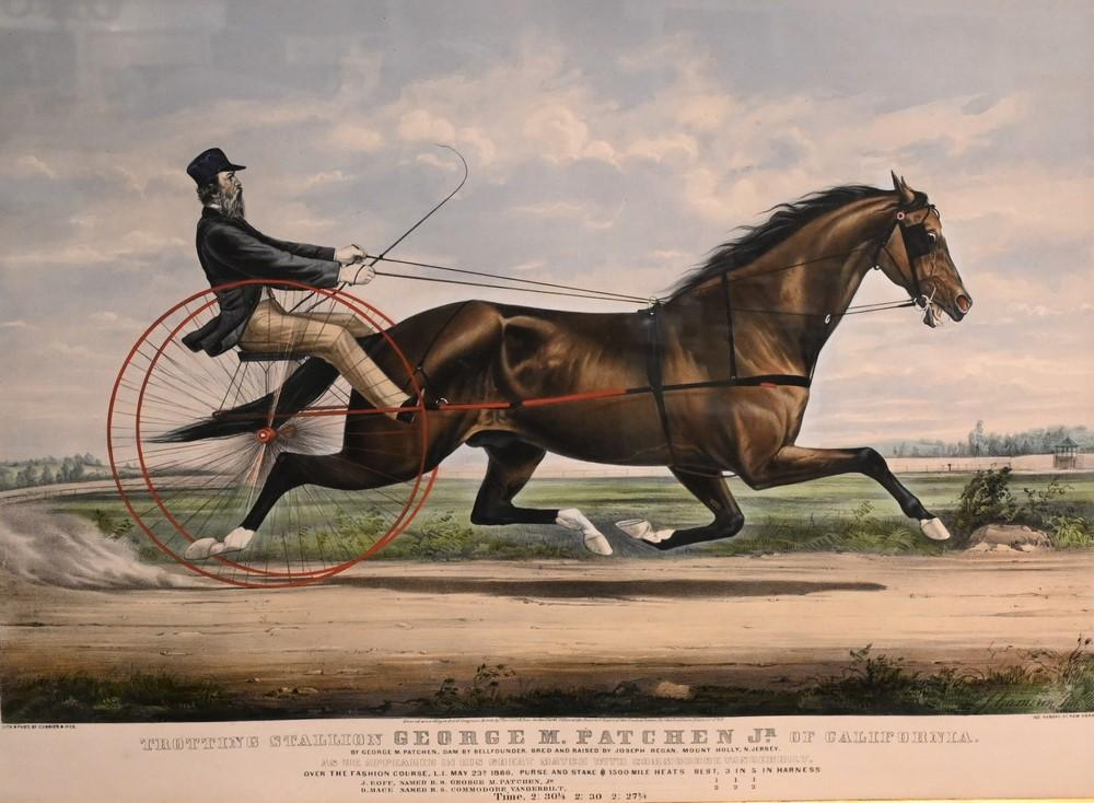 """Currier and Ives """"Trotting Stallion, George M. Patchen, Jr. of California""""1866lithograph in colors on paperinscribed in plate th..."""
