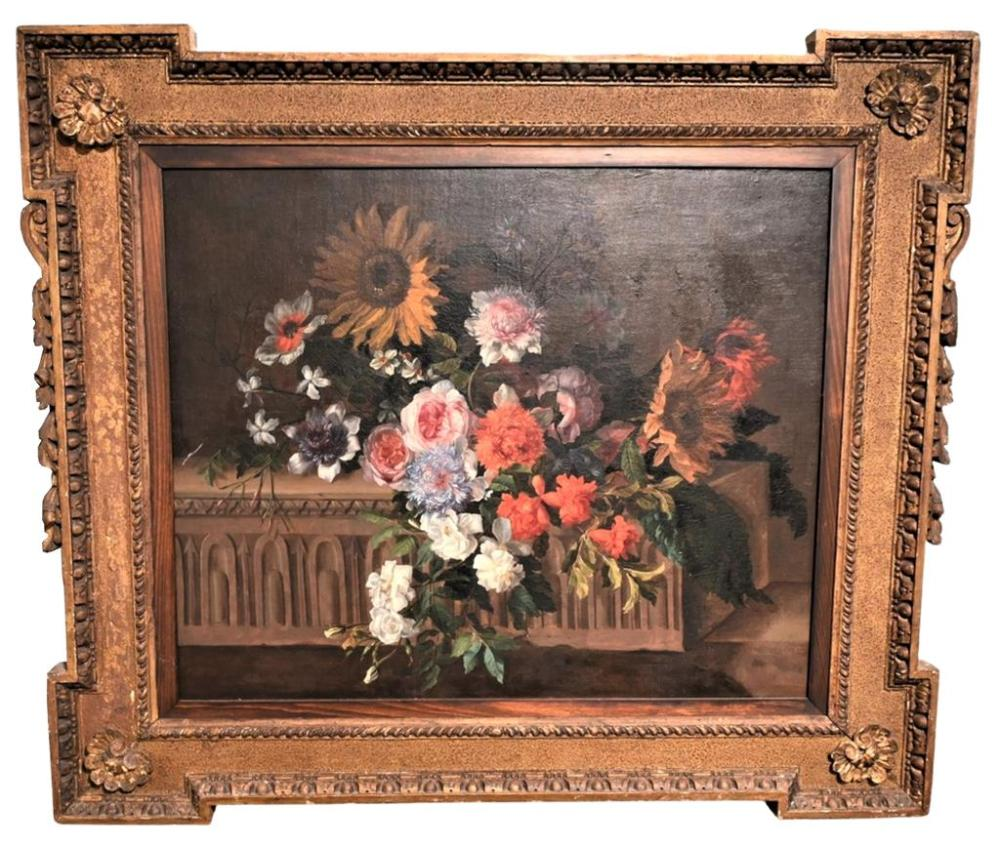 Attributed to Jean Baptiste MonnoyerFrench, 1636 - 1699still life with sunflowers, peonies and wildflowersoil on relined canvasu...