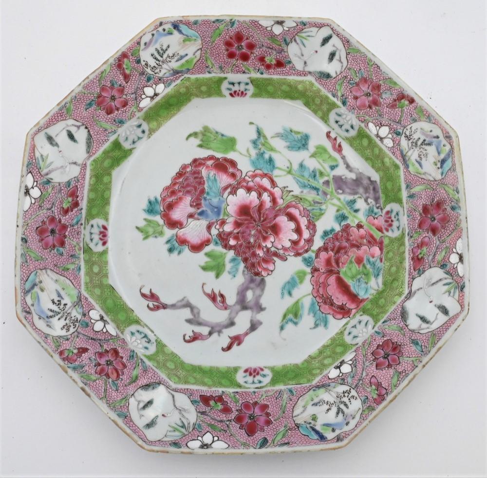 Chinese Export Porcelain Octagonal Dishhaving enameled flowers with eight vignettes of flowers diameter 10 7/8 inchesProvenance: ...