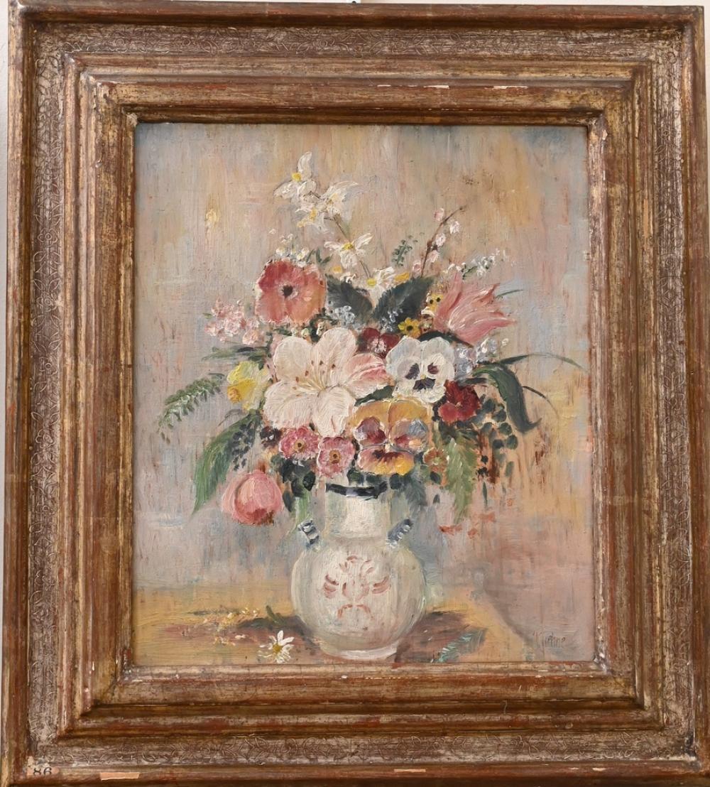 "Max Kuehne German/American, 1880 - 1968 still life with flower arrangement oil on panel signed lower right ""Kuehne"" having..."