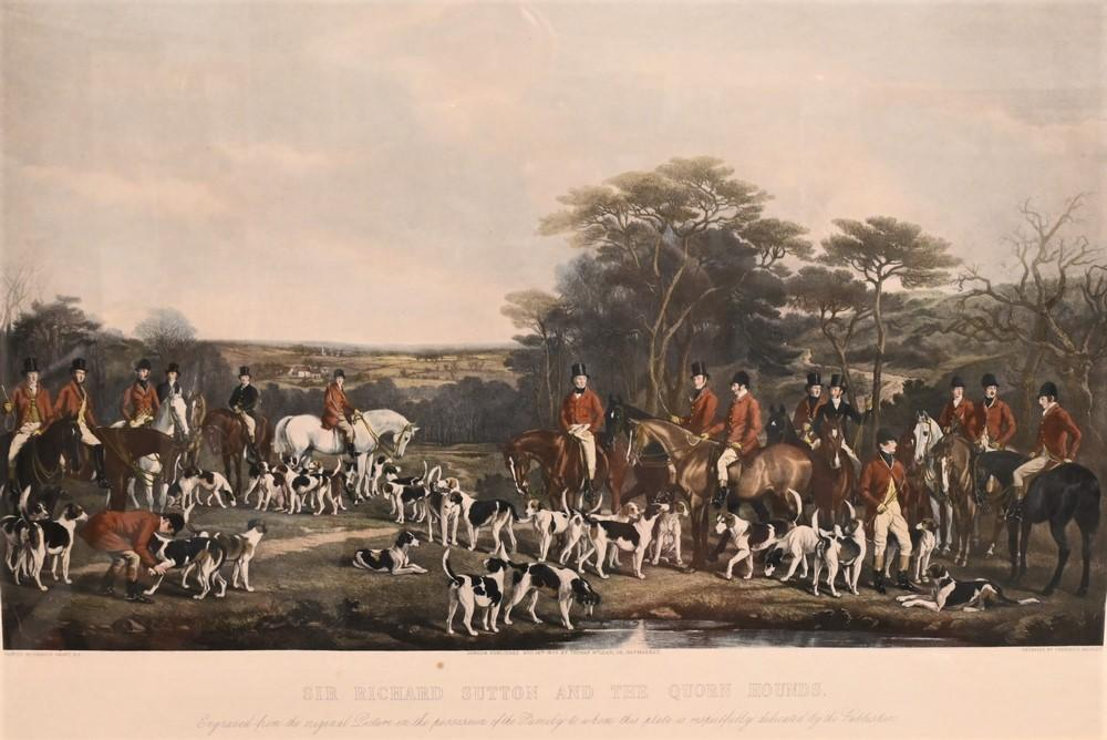 """After Francis Grant Scottish, 1803 - 1898 """"Sir Richard Sutton and Quorn Hounds"""" engraving with hand coloring on paper inscr..."""