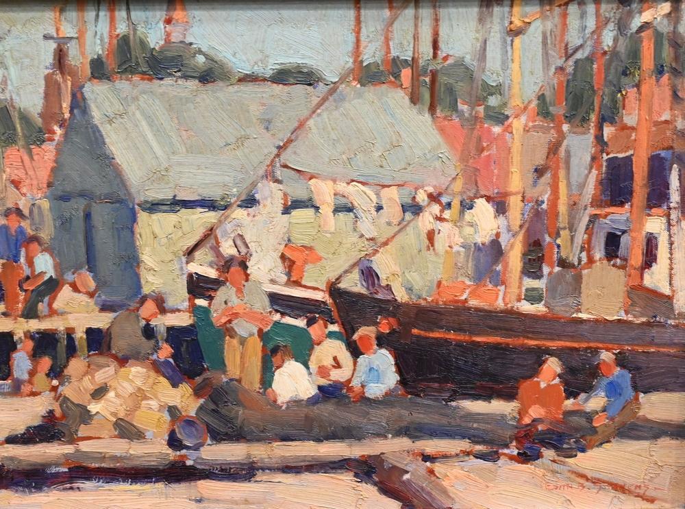 "Pair of Edith Briscoe StevensAmerican, 1898 - 1931market scene and pier sceneboth oil on boardboth signed lower right ""Edith Bri..."