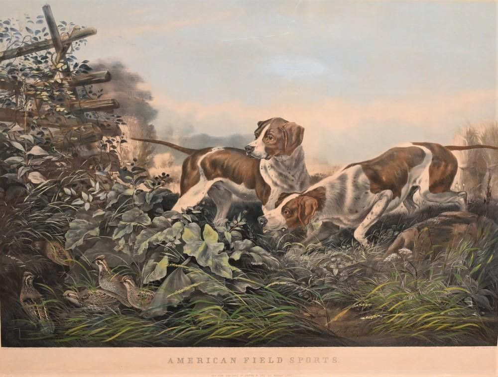 """Currier and Ives after Arthur Fitzwilliam Tait""""American Field Sports on a Point""""1857lithograph with hand coloring on paper inscri..."""