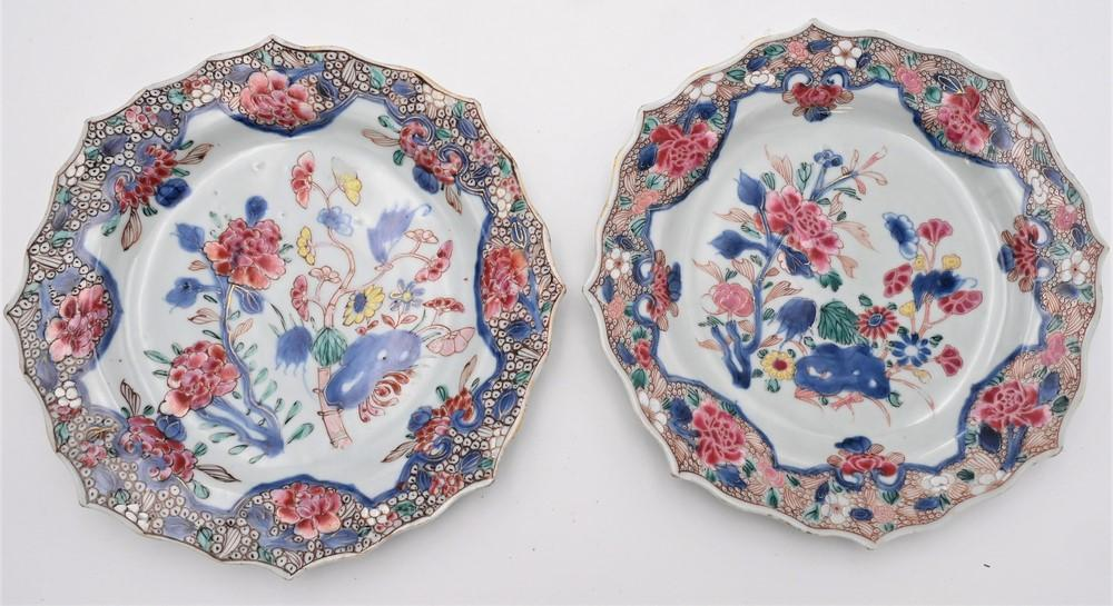 Pair of Chinese Qianlong Porcelain Plateshaving enameled flowers and decorative border18th century or laterSolveig and Anita Gray...