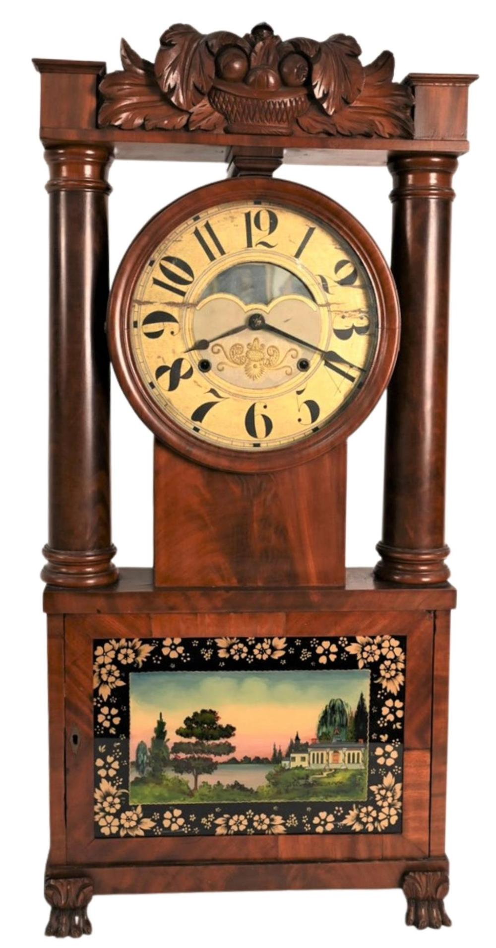 Rare George March Hollow Column Mahogany Shelf Clocktop carved with basket of fruit, eglomised glass door, all set on paw feetheig...
