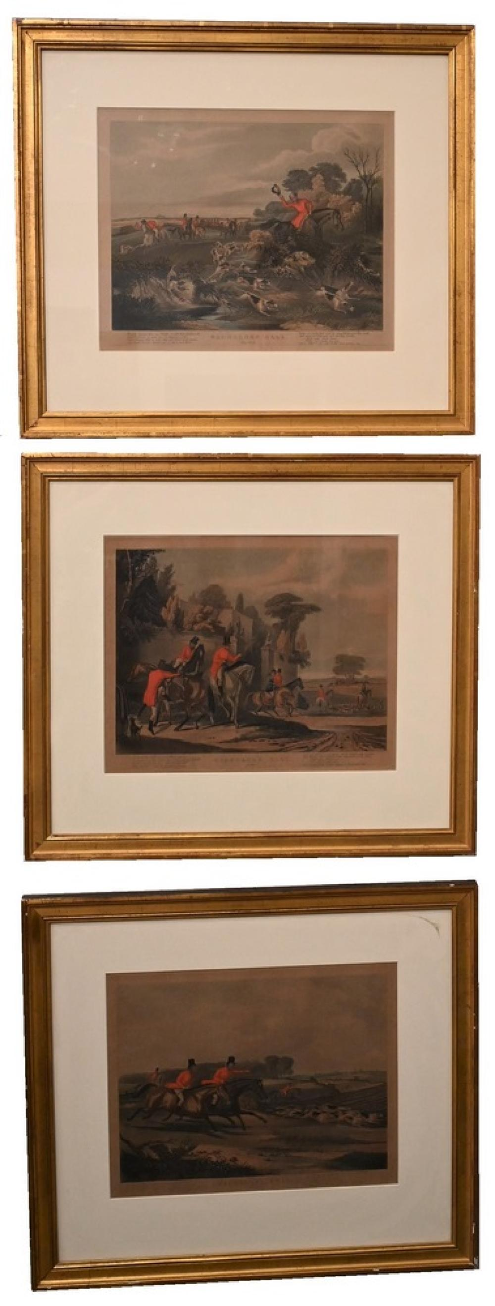 """Set of Three Bachelor's Hall Etchings""""Horses and Hounds""""sight size 12 x 15 inches"""