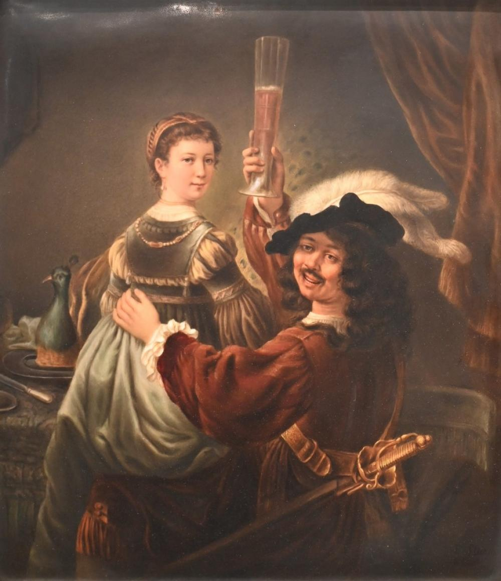 Large KPM Porcelain Plaquedepicting Rembrandt and his wife in the scene of the Prodigal Son in the tavernstamped KPM on the revers...