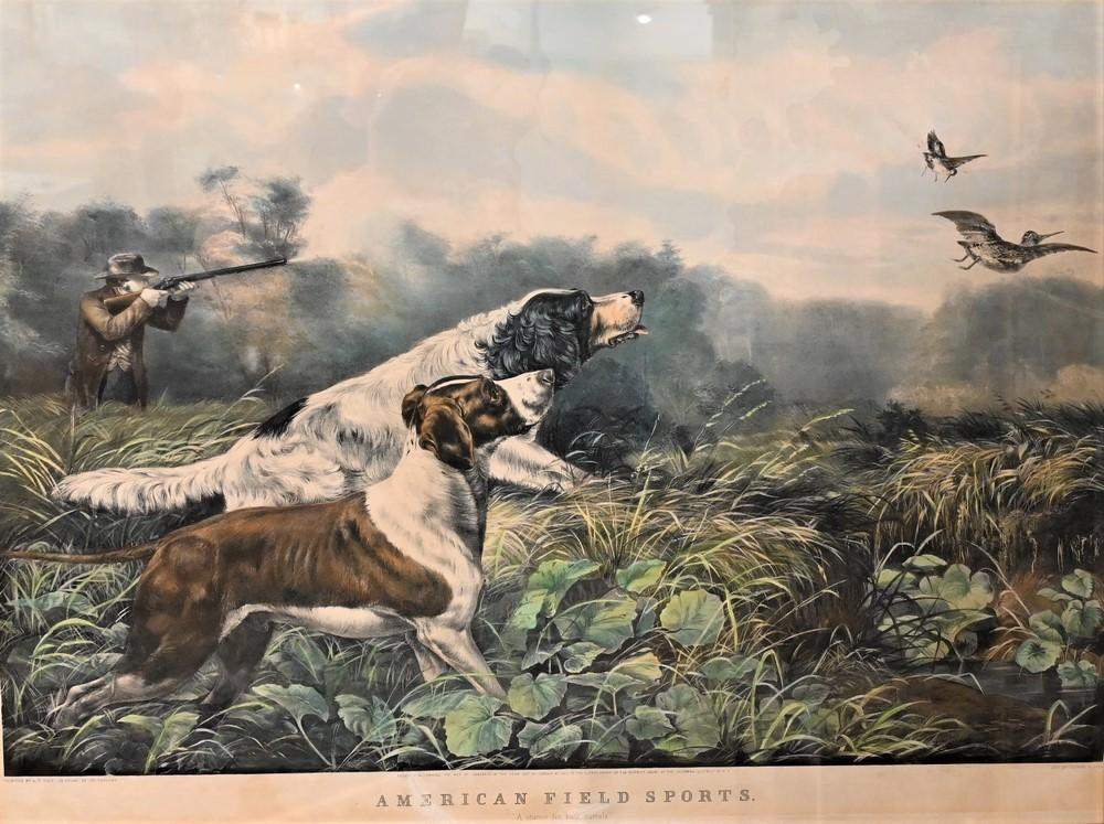 """Currier and Ives after Arthur Fitzwilliam Tait""""American Field Sport, 1857""""lithograph with hand coloring on paperinscribed in plat..."""