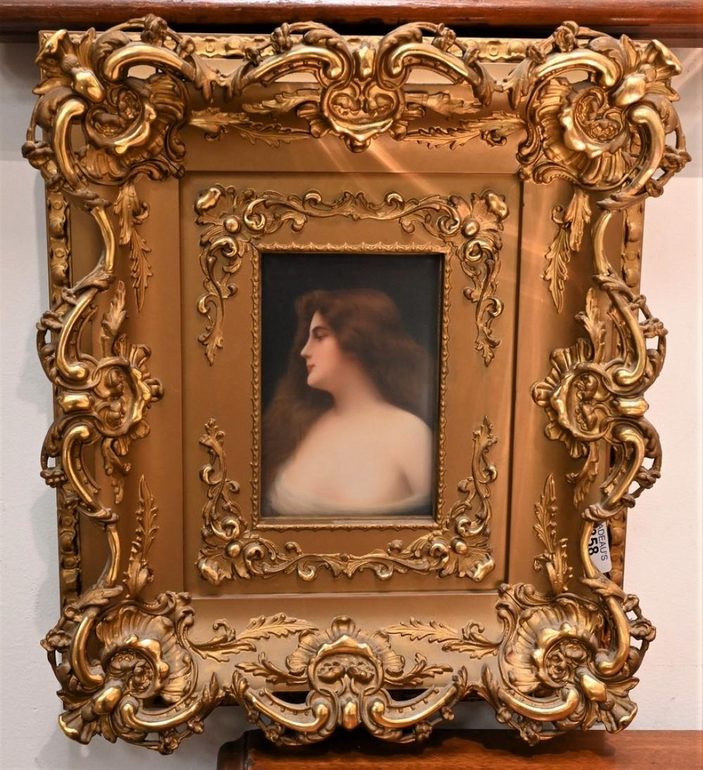 """Wagner KPM Porcelain Plaque having painted maidensigned """"Wagner"""" lower right and marked to the reverse with a shield and """"107""""hou..."""