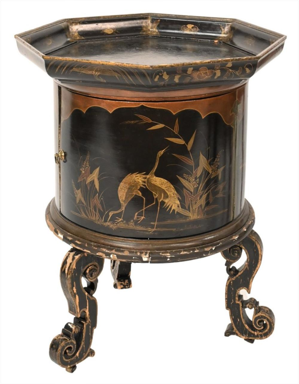Chinese Black Lacquered One Door Standhaving octagon top over drum form case with one door, painted with crane and rabbitsheight 3...