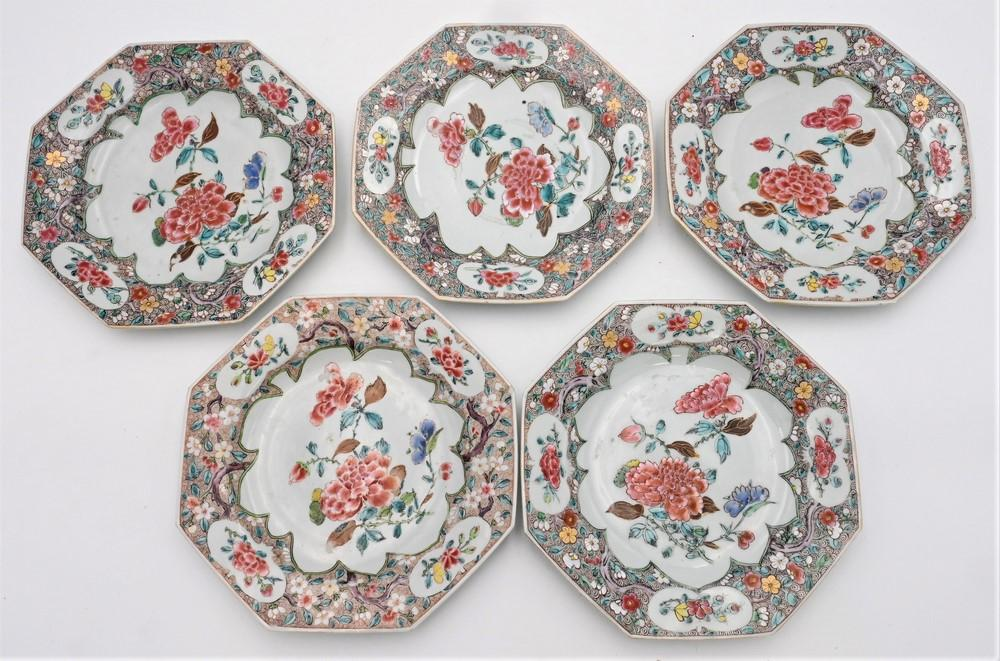 Set of Six Chinese Export Famille Rose Porcelain Octagonal Plateshaving painted enamel center flower, outer rims richly decorated w...
