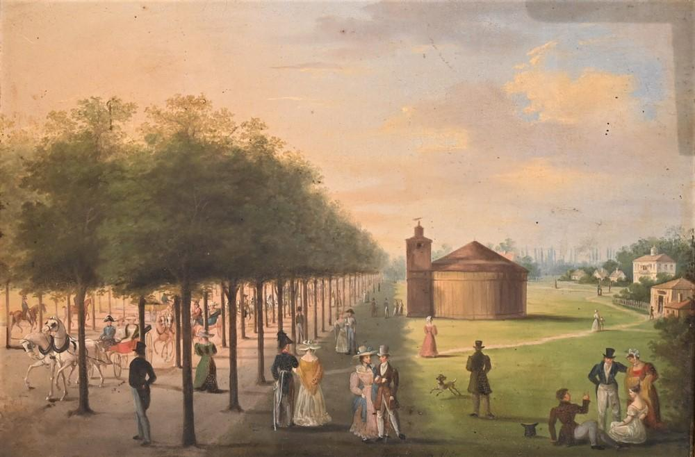 """American School19th centuryfolk art scene of a town greenoil on tininscribed indistinctly and dated """"panoramic pratas 1830"""" alon..."""