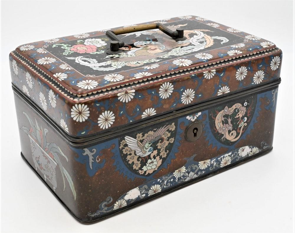 Large Cloisonne Boxhaving hinged lid and large brass handleinterior silvered with upper tray in three covered compartmentscloison...