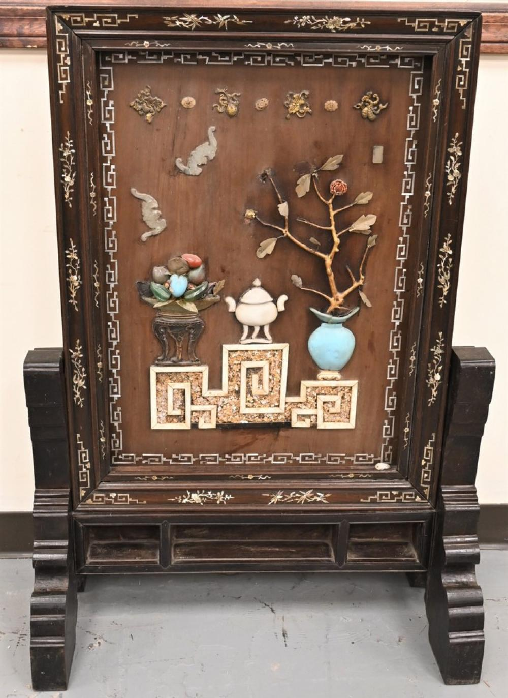 Large Chinese Hardwood Screenhaving mother of pearl inlaid frame of bats, antiques and scroll leaves with fruit, central screen mou...
