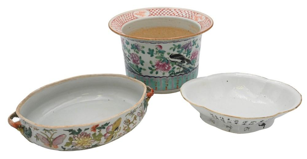 Three Pieces of Assorted Chinese Porcelainto include Famille Rose oblong footed dishhaving four character marks on bottomFamille ...