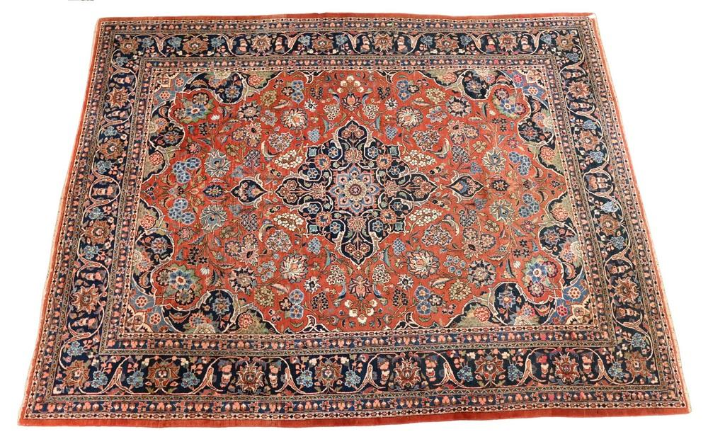 """Sarouk Oriental Carpet 10' 9"""" x 14'Provenance: Fifty Year Personal Collection of Clocks and American Antiques from Thomas Bailey, ."""