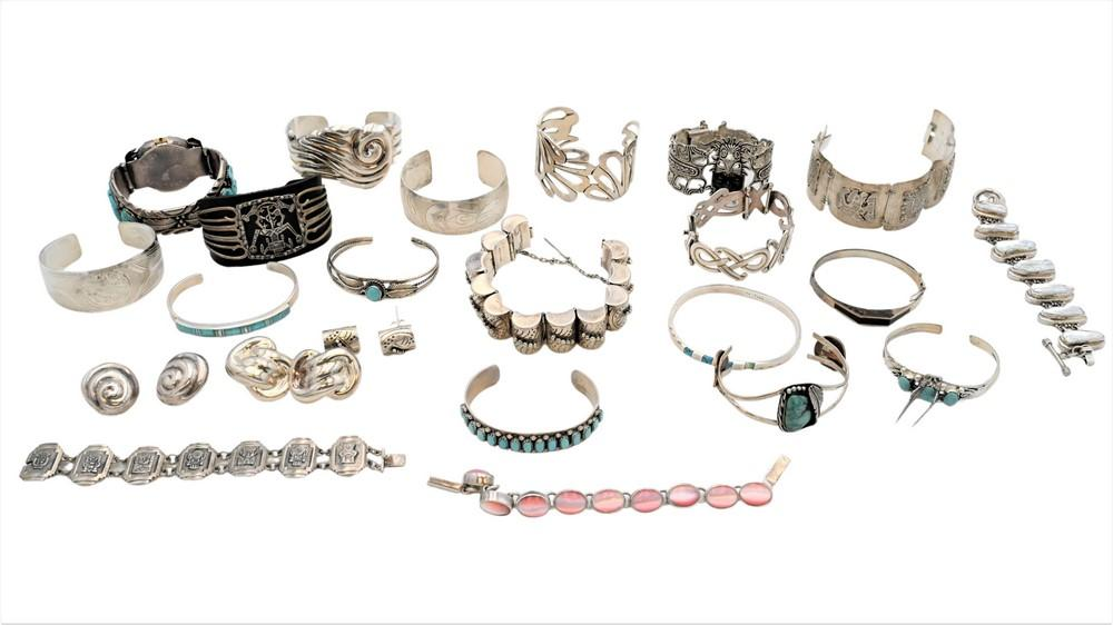19 Silver Braceletssome mounted with stones, some with matching earringsSouthwest, US or Mexico
