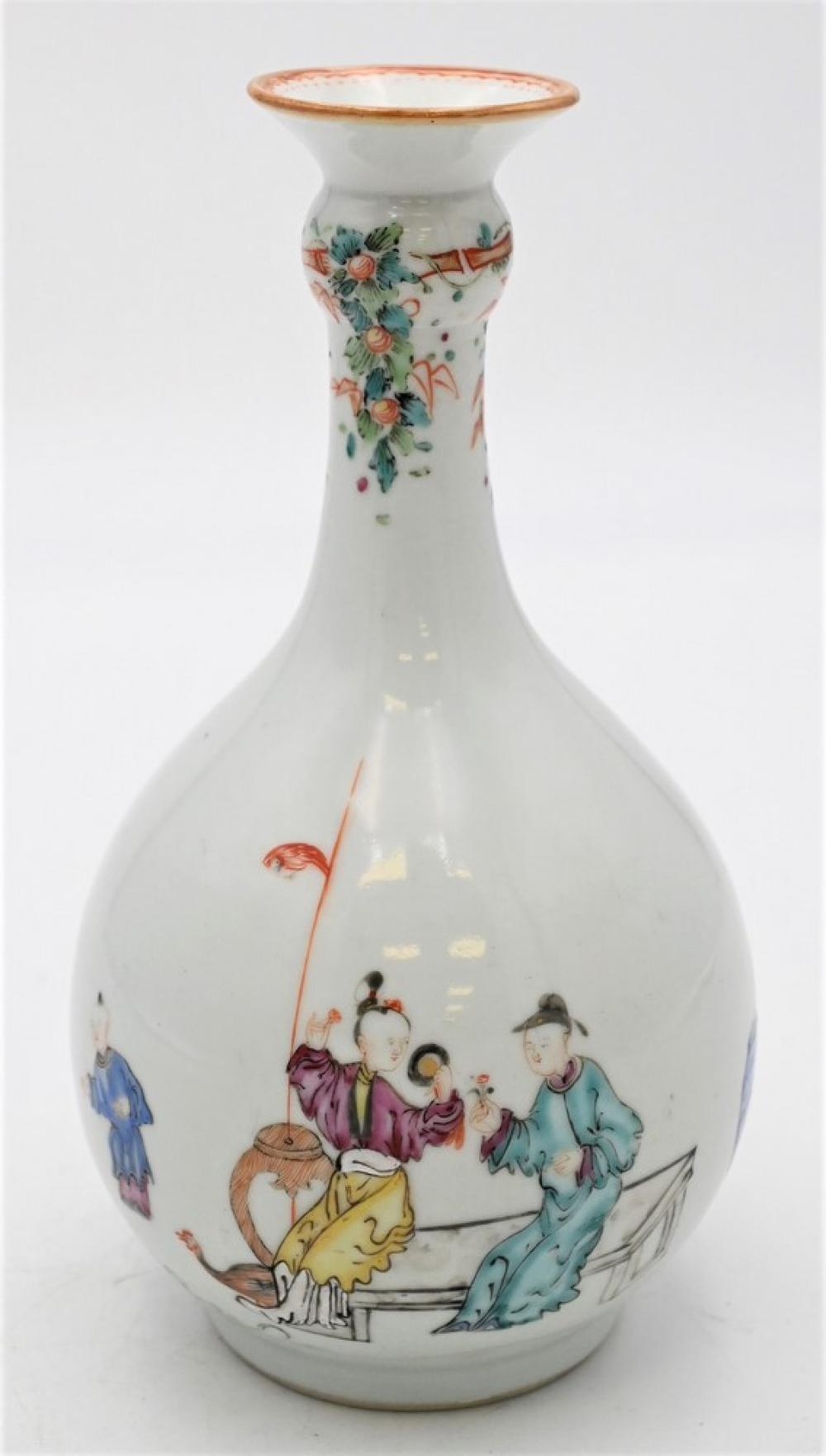 Chinese Rose Famille Porcelain Vasehaving painted figuresheight 9 1/2 inches