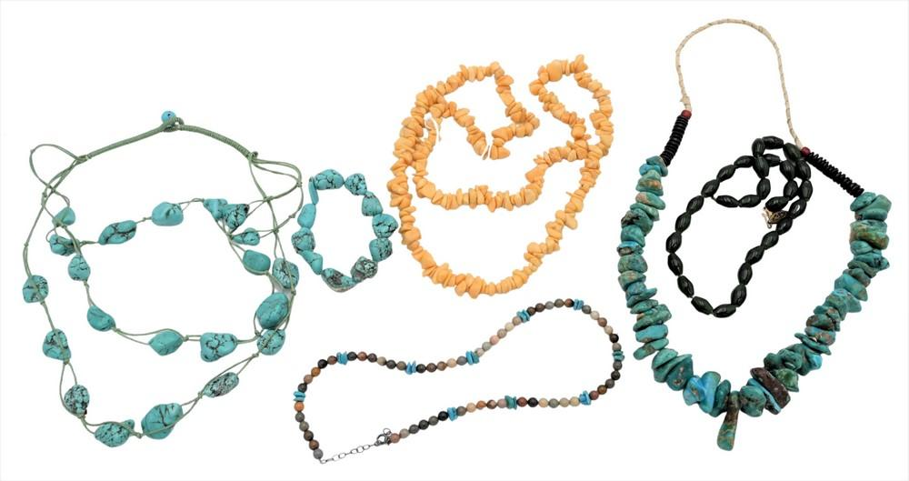 Six Piece Lot to include 2 turquoise nugget necklaces and one bracelet, along with three bead necklaces