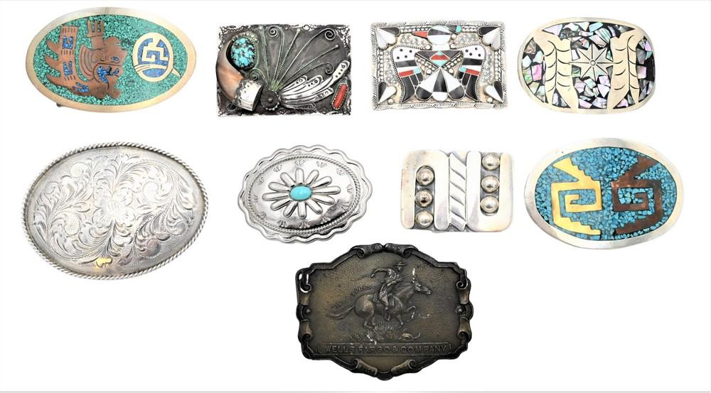 Nine Large Belt Bucklesto include eight silveralong with one brass marked Tiffany Studios N.Y.Southwest, US or Mexicolongest len...