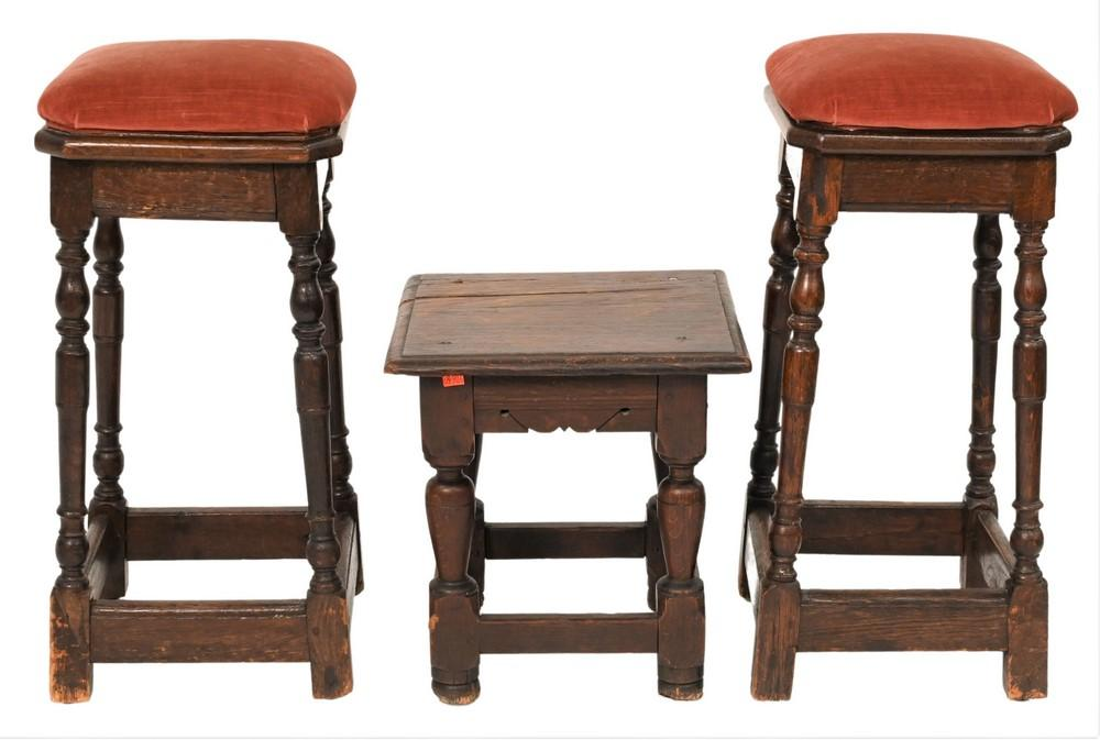 Three Piece Lotto include pair of oak Jacobean joint stools having custom cushion tops, along with a joint stoolrestoredtotal hei...