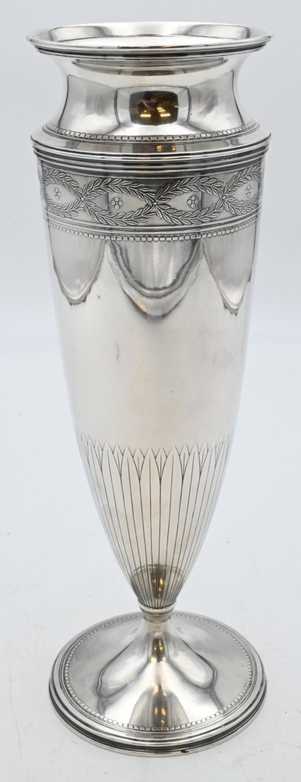 Tiffany Sterling Silver Footed Vasemarked Tiffany & Company 19229Amakers 8005 sterling silverheight 14 inches, 36.8 t.oz.