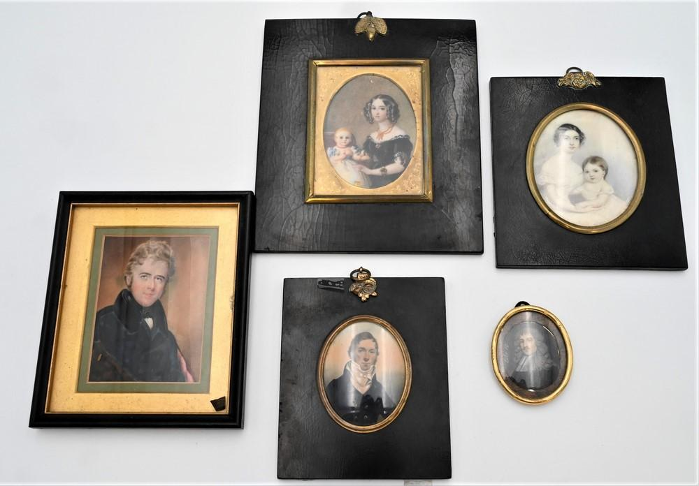 Five Miniature Watercolor on Paper Portrait Paintingsattributed to Peter Paillou (1757 - 1831)to include miniature portrait of a g...