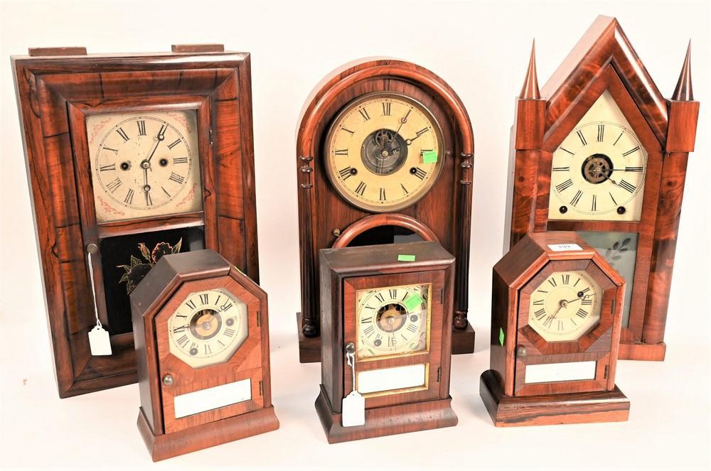 Group of Six Mantel Clocksto include a Brewster & Ingraham mahogany steeple clock; Joseph Ives beehive 8-day clock; three small Set...