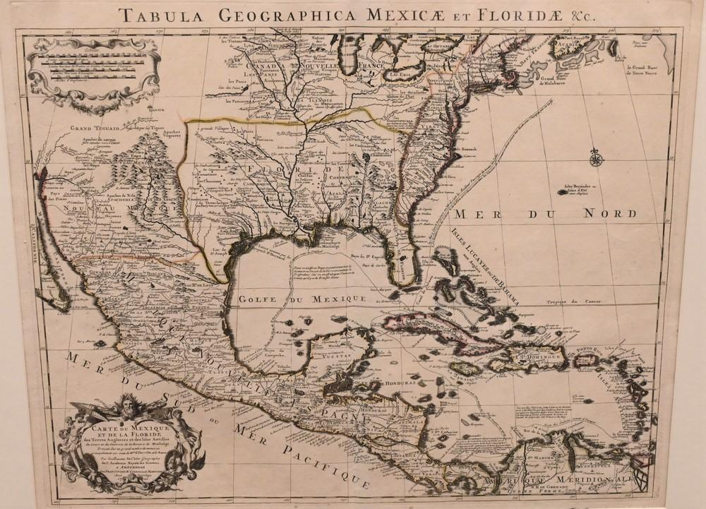 """Guillaume de L'Isle""""Tabula Geographica Mexicae et Floridae, etc.""""engraving on paper of the American south, Mexico, and the Antille.."""