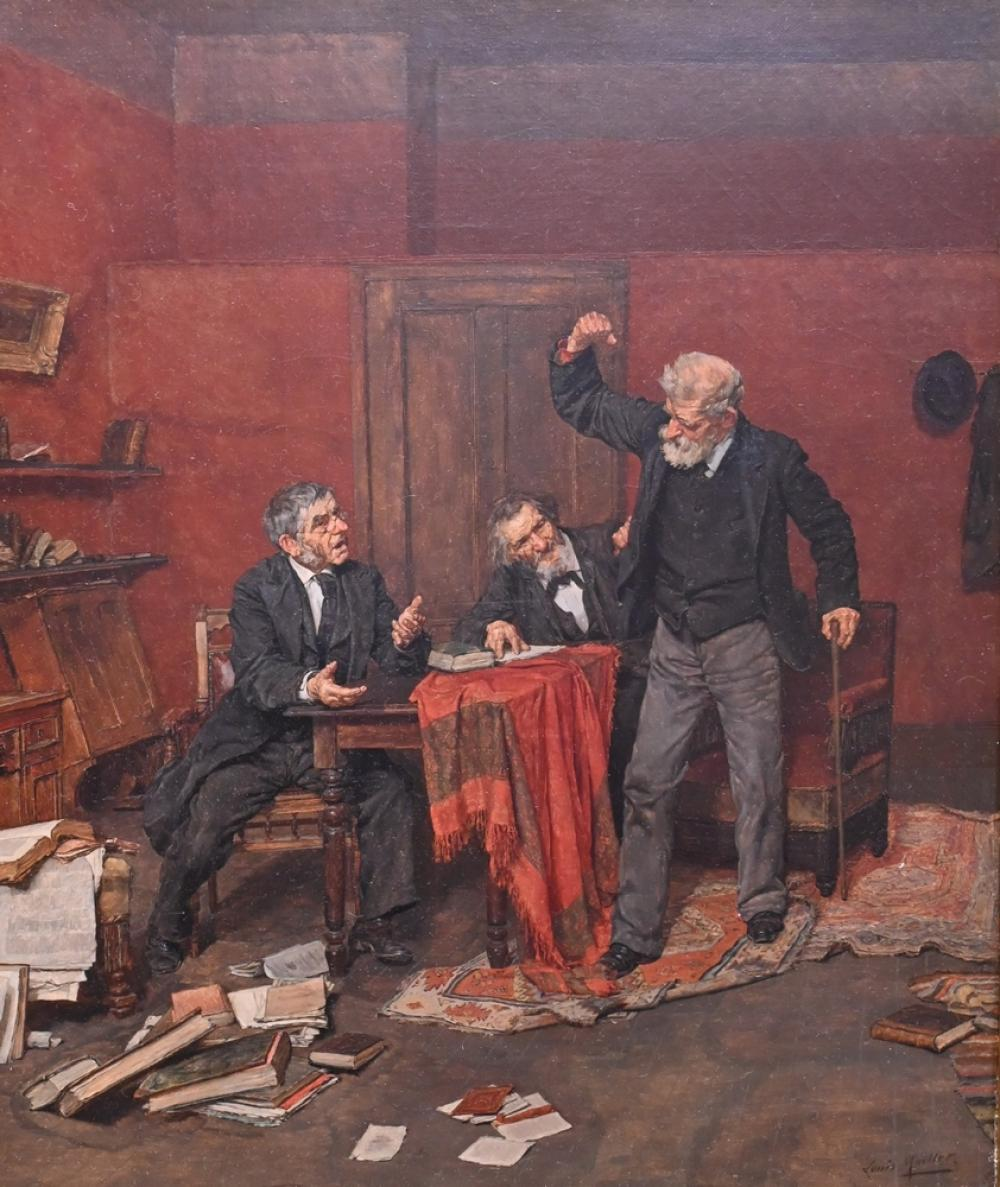 """Louis Henry Charles MoellerAmerican, 1855 - 1930""""Stubborn""""oil on relined canvassigned lower right """"Louis Moeller"""", titled in lab..."""