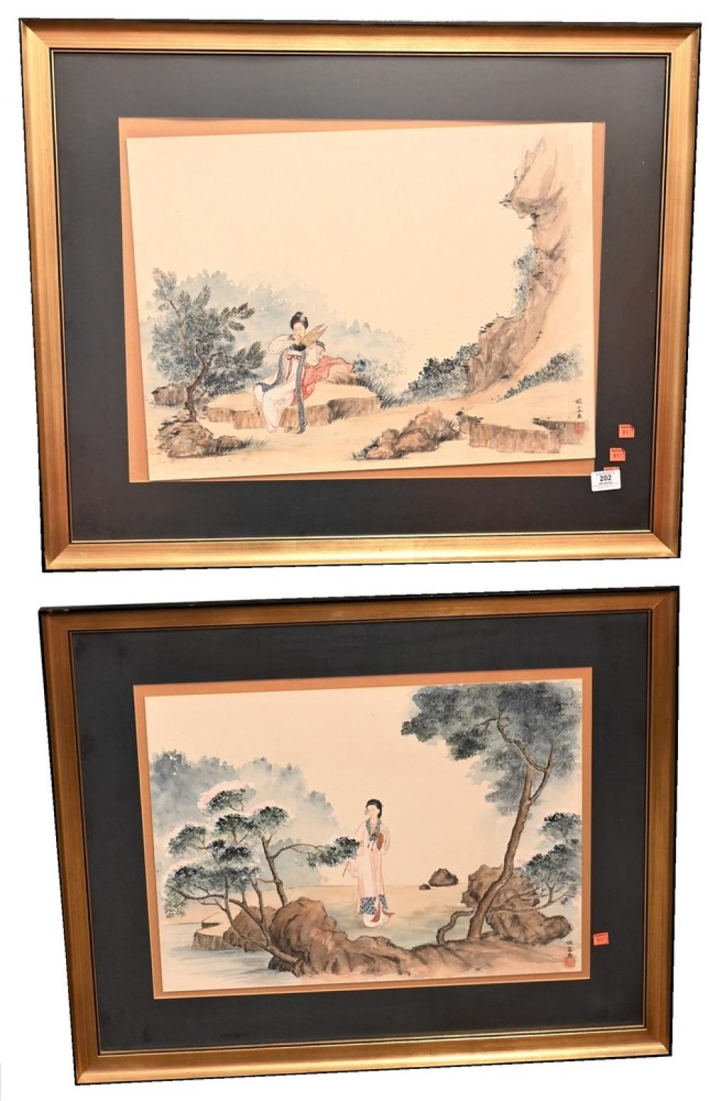 Group of 15 Chinese and Japanese Paintingsto include group of 12 watercolor on tissue paper of figurespair of watercolor on paper ...