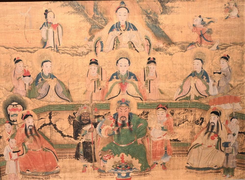 Japanese Watercolor on Silkhaving painted warrior figure amongst scholars and geisha18th century or latersight size 22 x 29 1/2 i...