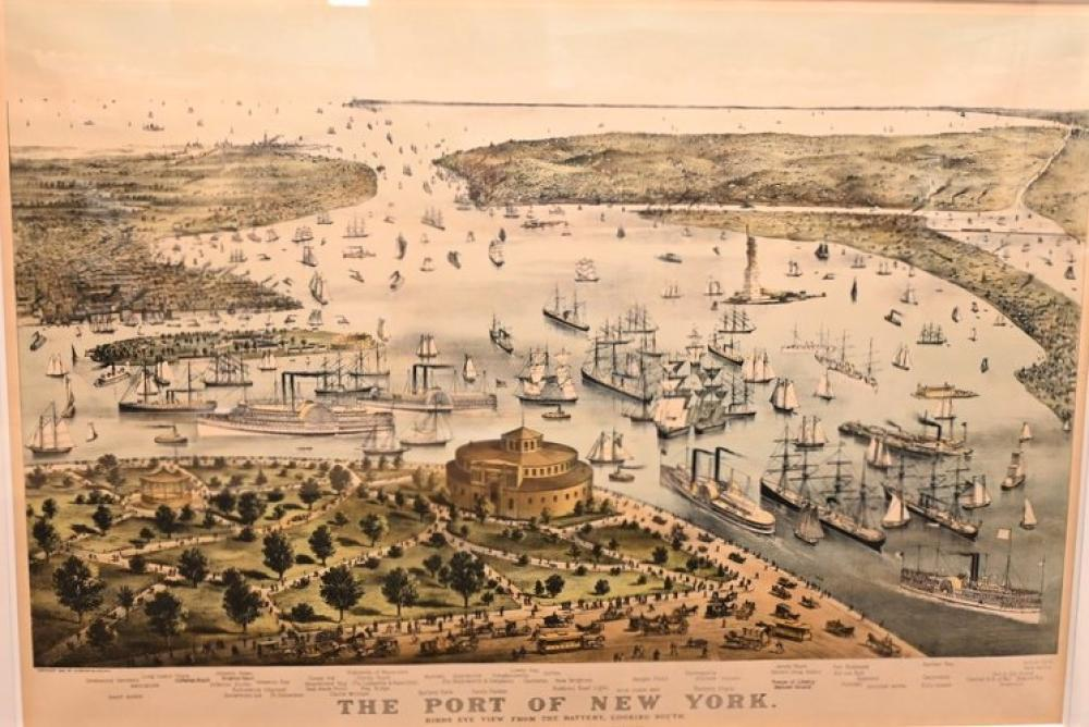 """Currier & Ives """"Port of New York from Battery South, 1892"""" lithograph with hand coloring on paper inscribed in plate through t..."""