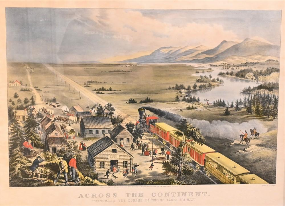 """Currier and Ives """"Across the Continent"""" lithograph on paper with hand coloring printed title and credit line through the lowe..."""
