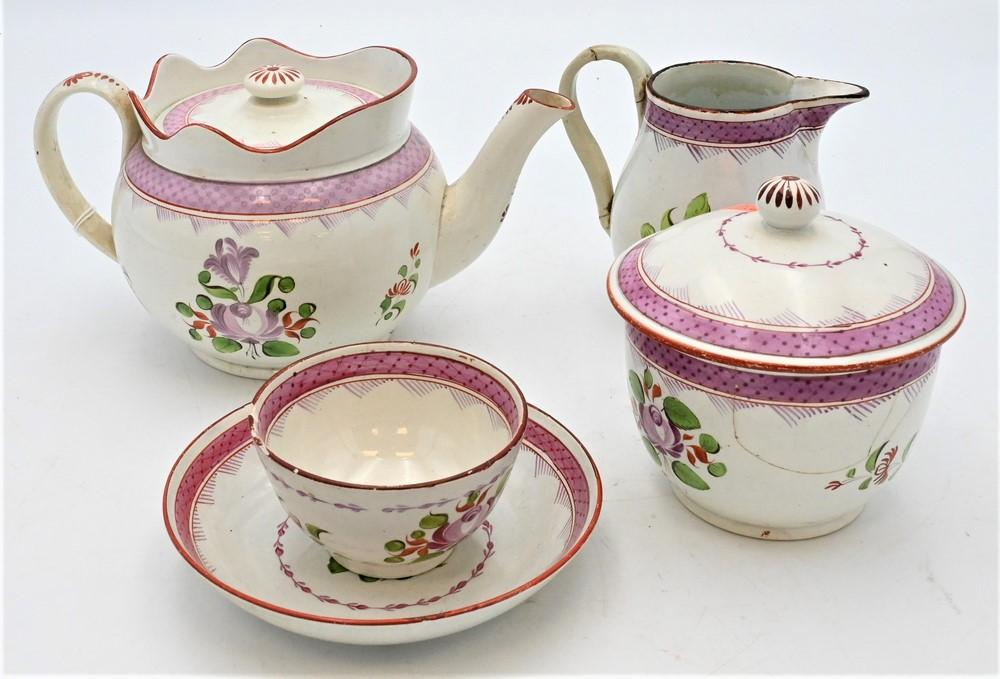 22 Piece Set of Soft Paste to include teapot, creamer, covered sugar bowl, ten saucers, and nine cups,damage to creamer handles, s...