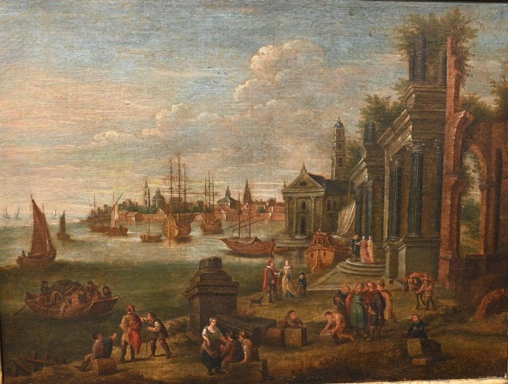 Italian Schoolport and market in Italy18th centuryoil on relined canvasunsigned17 1/4 x 23 inches