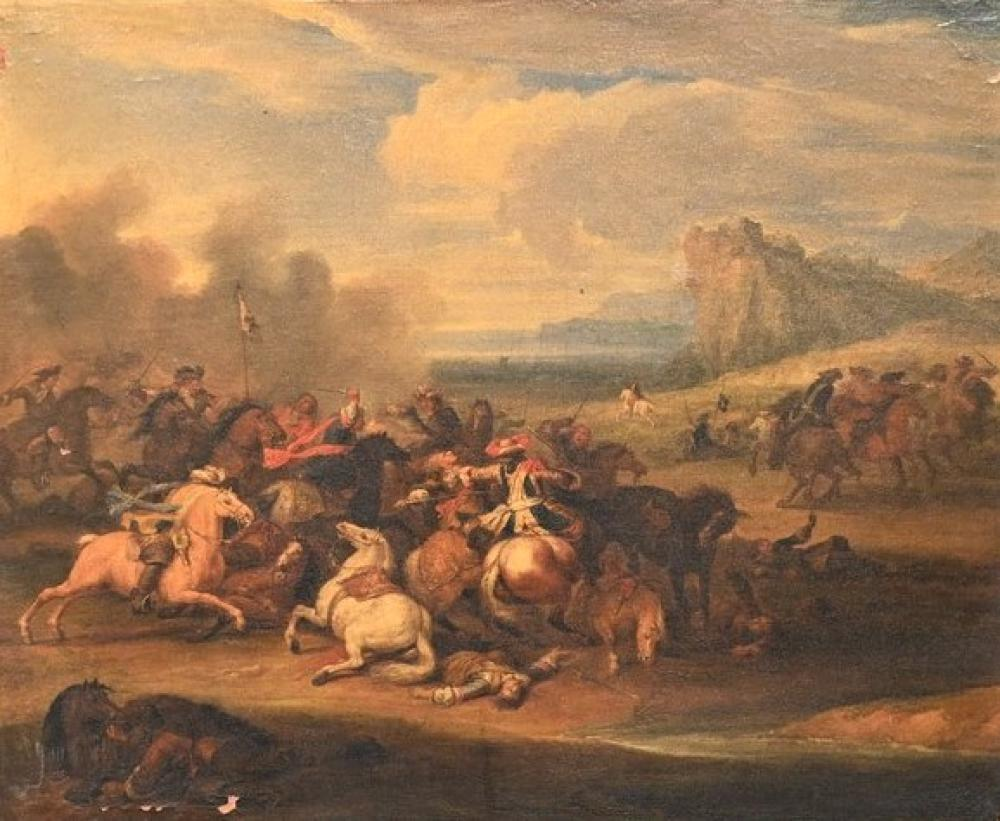 Attributed to Adam Frans Van Der Meulen1632 - 1690Battle Scene with Calvaryoil on canvas17th century or laterunsigned18 3/4 x ...