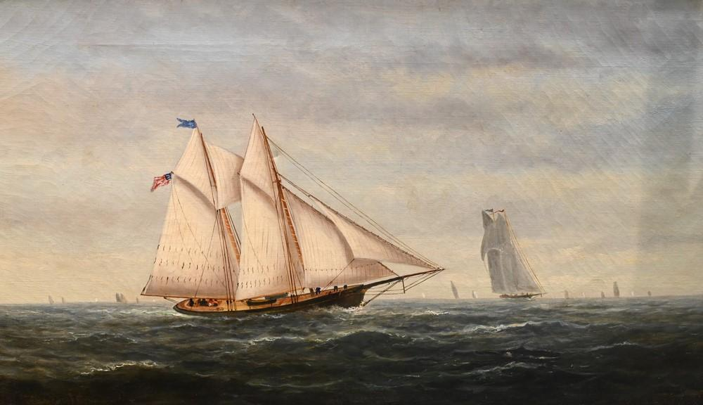 American School19th centurySchooner at Sea with American Flagoil on canvassigned indistinctly14 x 24 inches