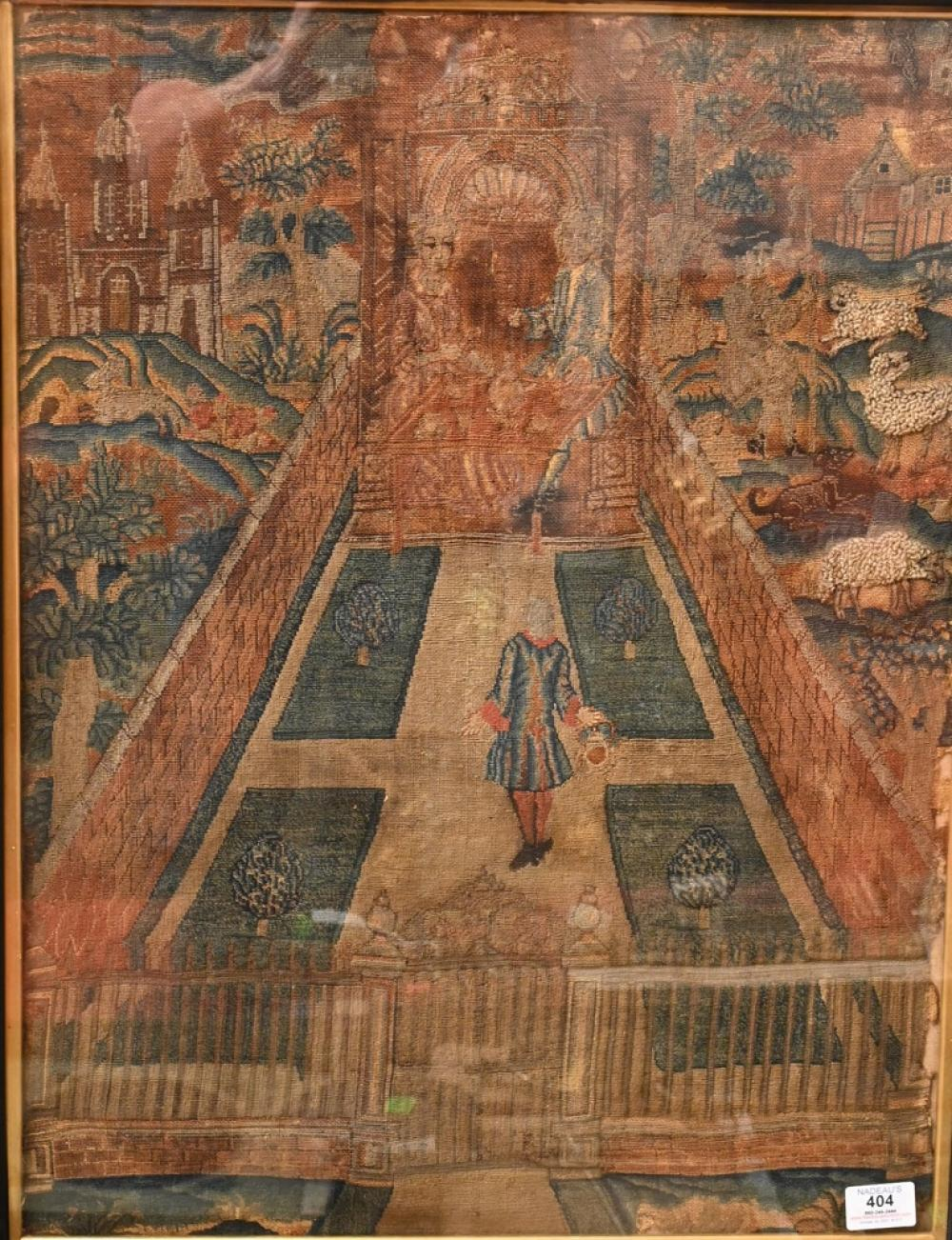 Continental Embroidered Wool Tapestry Panel courtyard scene with figure walking up to a seated royal couple eating, having sheep, s...