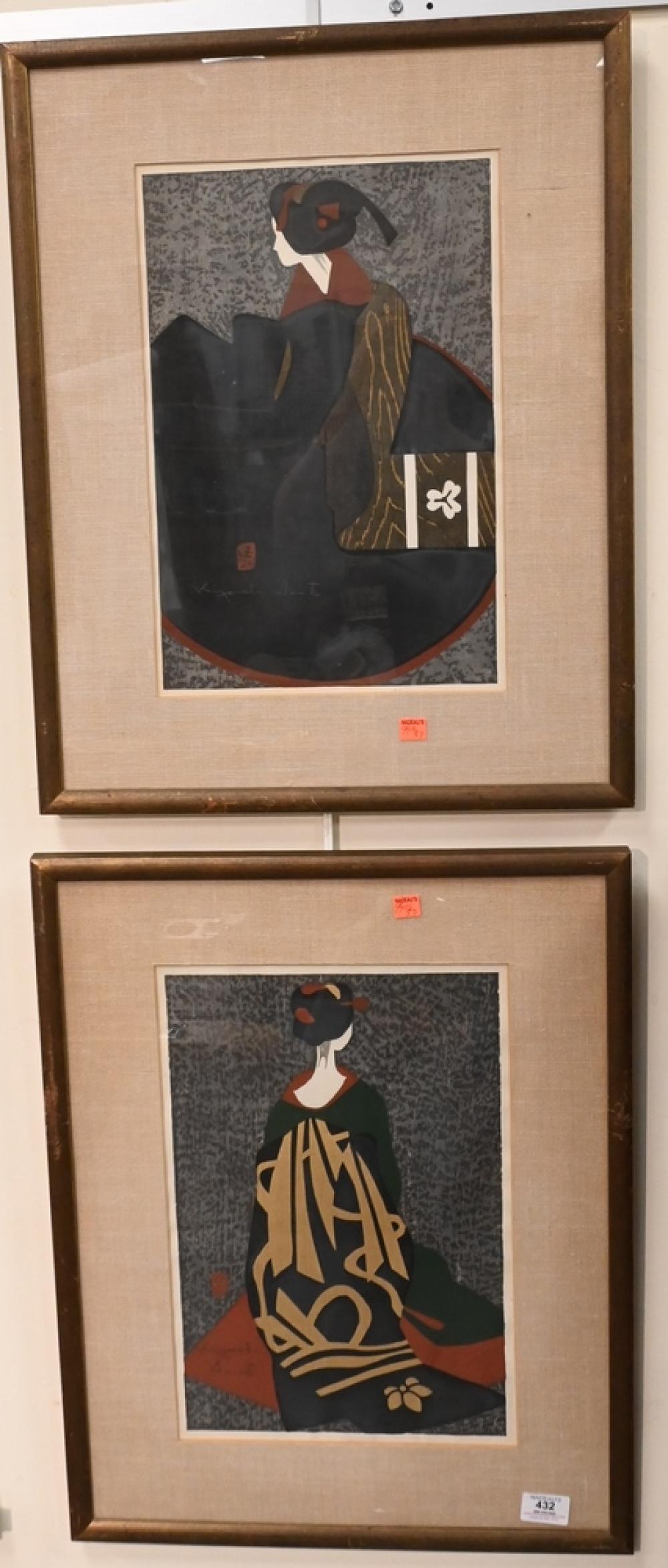 Pair of Kiyoshi Saito1907 - 1997Japanese Woodblocksto include Maiko and Geishaboth pencil signed Kiyoshi Saito and artist stamp...