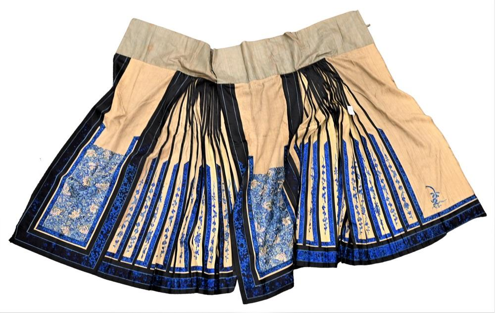 Chinese Silk Embroidered Skirtcream ground with butterflies amid blue flowerslength 40 inches