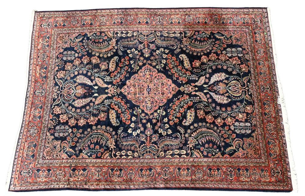 Blue Sarouk Oriental Carpet9' x 12'.