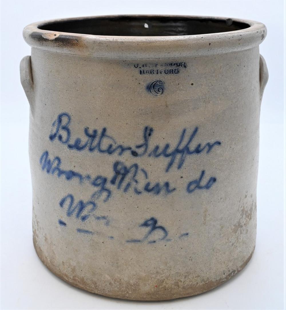 "O.H. Seymour Hartfordsix gallon crock written in blue ""Better Suffer Wrong than do Wrong"" from a statement from Samuel Harrison to ..."