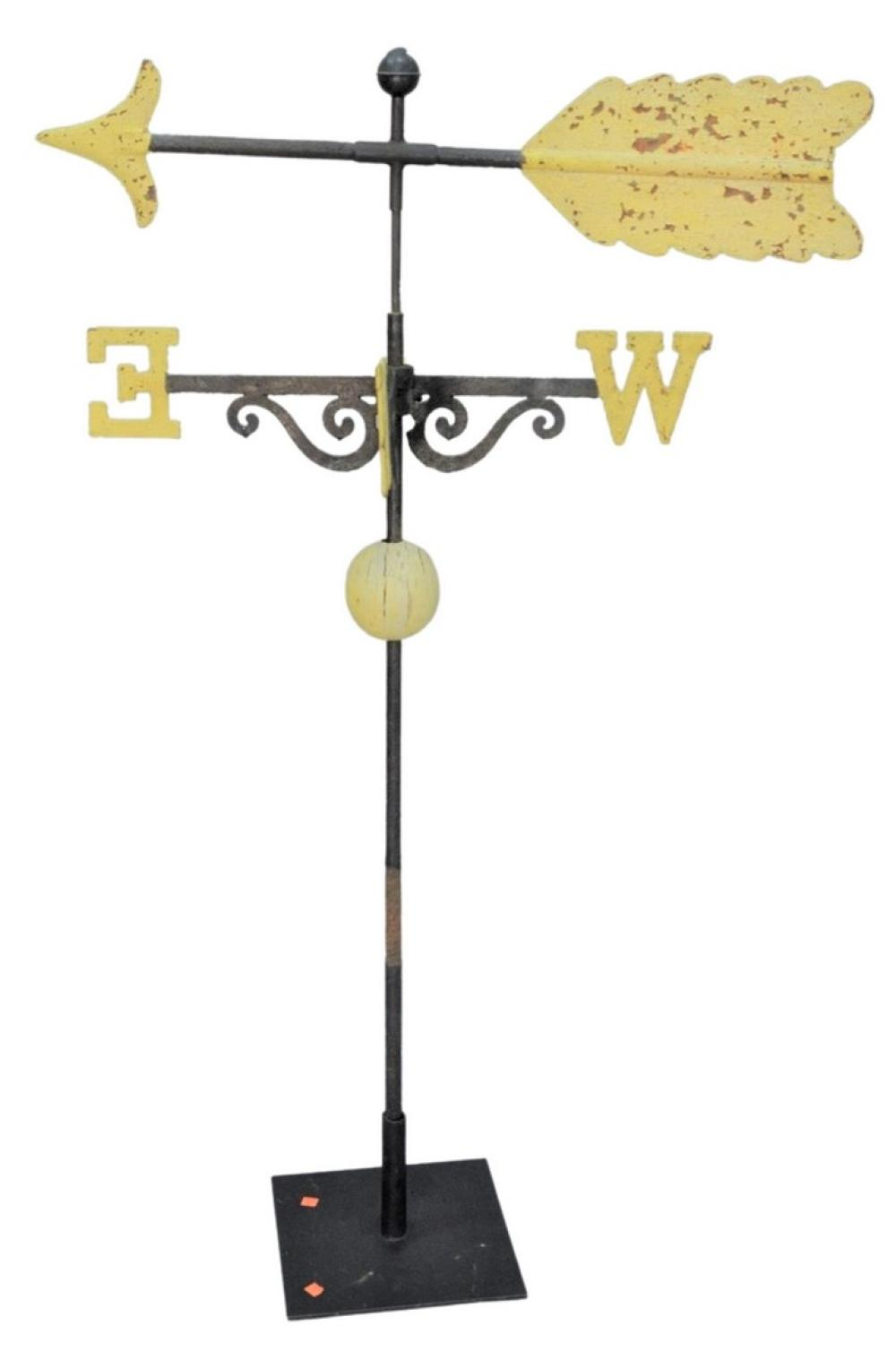 Iron Arrow Weathervane having iron directional, on stand total height on stand 60 inches, length 39 inches