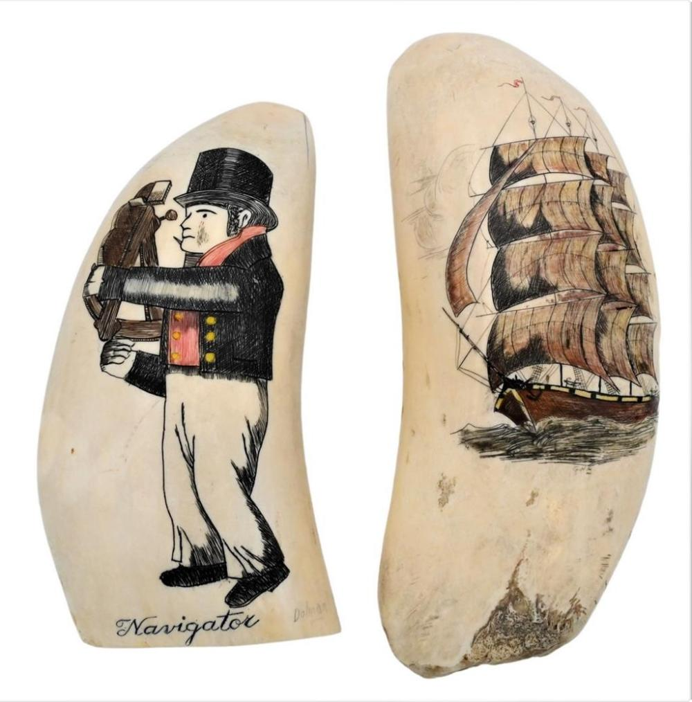 Two Whales Teeth later scrimshawed one having ship length 6 inches the other having a sailor holding a sextant titled Navi...