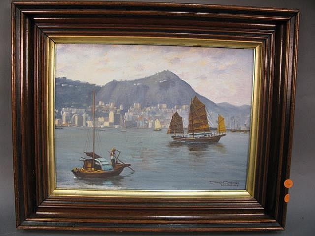 David Cheng, Hing Kong 1962, oil on baord of ships